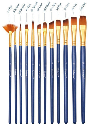 Nylon Paint Brush - 12/Set - Almost Artist