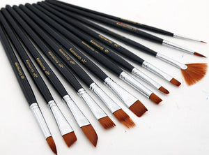 12 Pieces Nylon Paint Brush Set - Almost Artist