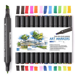 Dual Headed Alcoholic Art Marker - 12 Colors Set - 60% OFF - Almost Artist