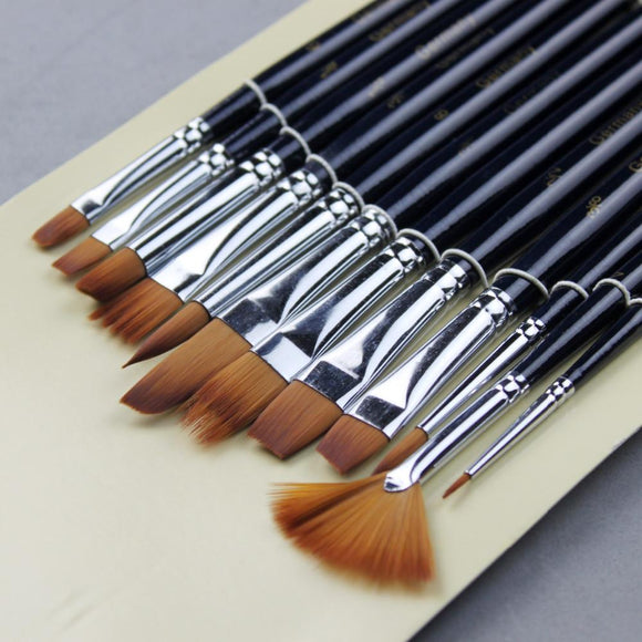 12 Piece Nylon Paint Brush Set - Almost Artist