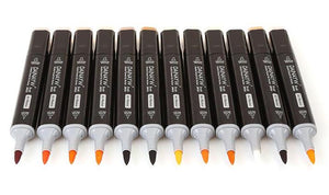 Dual Head Drawing Brush Markers - 12 Skin Tones - Almost Artist
