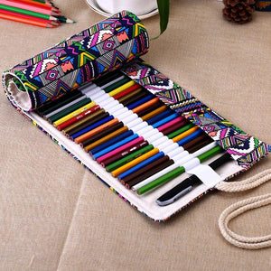 Roll Up Canvas Pencil Case - Colorful Geometry - Almost Artist