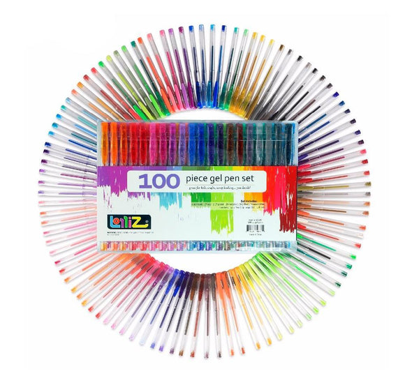 Lolliz® Color Art 100 Colors Gel Pens Set for Drawing & Adult Coloring Books - Almost Artist