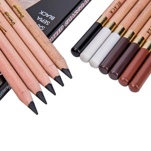 Coloured Charcoal Pencils for Sketching  Drawing - 4 Earthy Colors - 12 Pcs/Box - Almost Artist