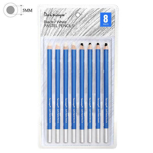 8 Soft Black & white Pastel Pencils - Almost Artist