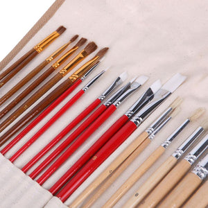 38 Pieces Brush Set With Canvas Bag - Almost Artist