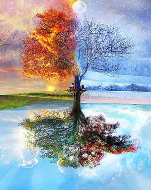 Four Seasons Tree Landscape DIY Painting By Numbers
