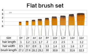 Nylon Paint Brush Set - 9 Pieces/set - Almost Artist