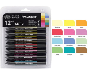 Winsor & Newton™ Set Twin Tip Alcohol Based Marker Pens 6 Colors & 12 Colors Blender Sketch