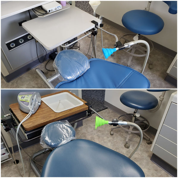"Dental evacuator funnel and hose supported from nearby table with SnakeClamp table clamp, 18"" light-duty flexible gooseneck arm and microphone clip."