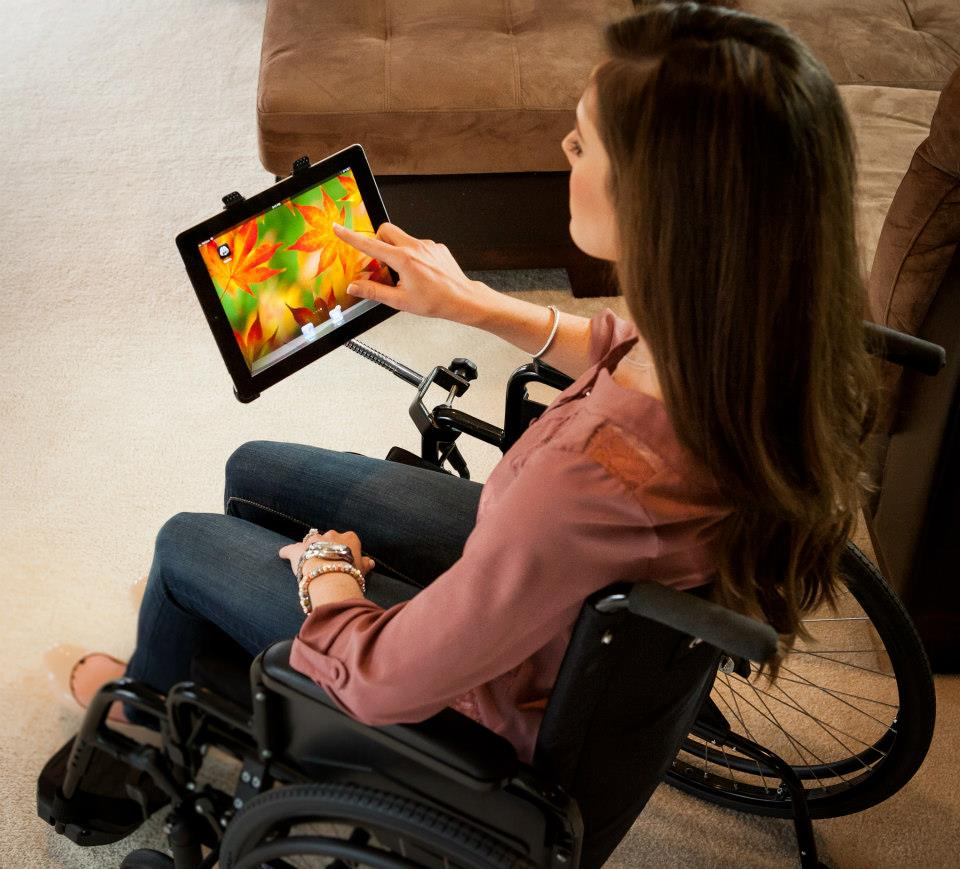 iPad SnakeClamp attached to wheelchair