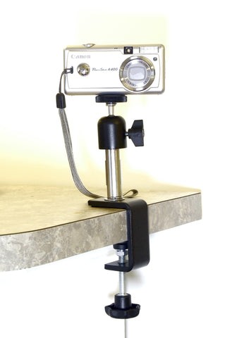 Camera attached directly to countertop with Table Clamp, Coupling and Camera Ball Head