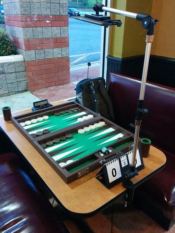 iPad & Tablet Cobra Clamp tablet holder being used to record backgammon match