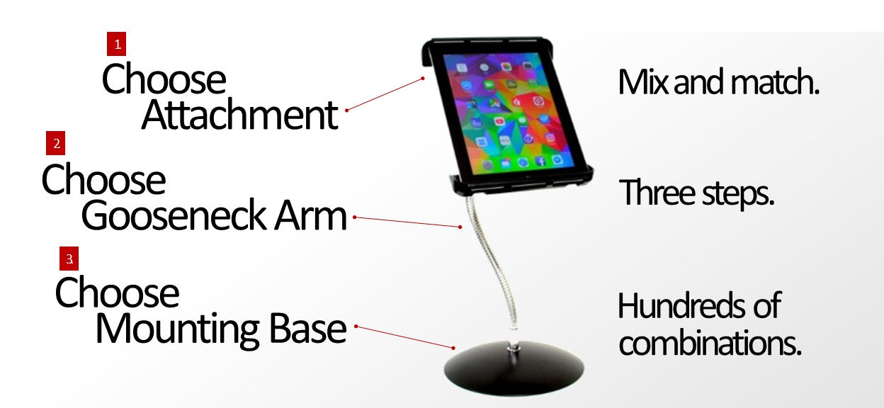 Heavy-Duty iPad & Tablet SnakeClamp stand mount holder with a flexible gooseneck tube arm