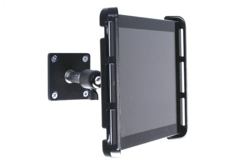 Heavy-Duty iPad & Tablet SnakeClamp shows tablet wall mounted with Plate Mount and Universal Ball Head