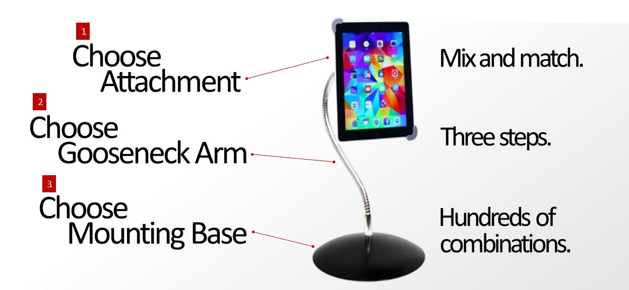 iPad & Tablet SnakeClamp stand mount holder with a flexible gooseneck tube arm