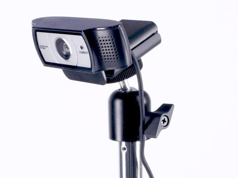 The Logitec C920, C922 and Pro Webcams are tripod-ready. Shown here is our Camera Ball Head attached to a 12″ Rigid Arm.
