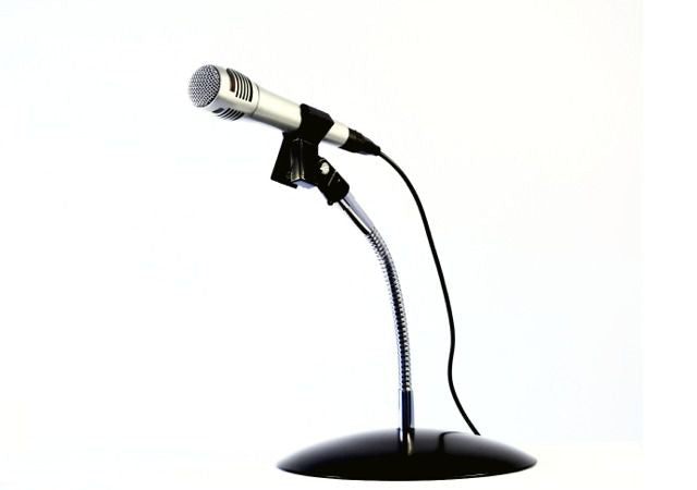 Microphone SnakeClamp shown with 9″ flexible gooseneck arm and round base