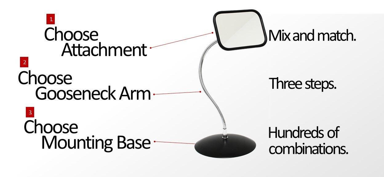 The Mirror SnakeClamp is a mirror mounted on a flexible gooseneck arm
