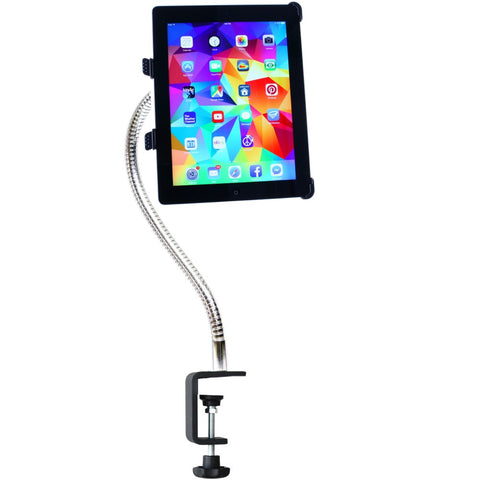 "iPad & Tablet SnakeClamp with 18"" Heavy-Duty gooseneck arm and Table Clamp mounting base"