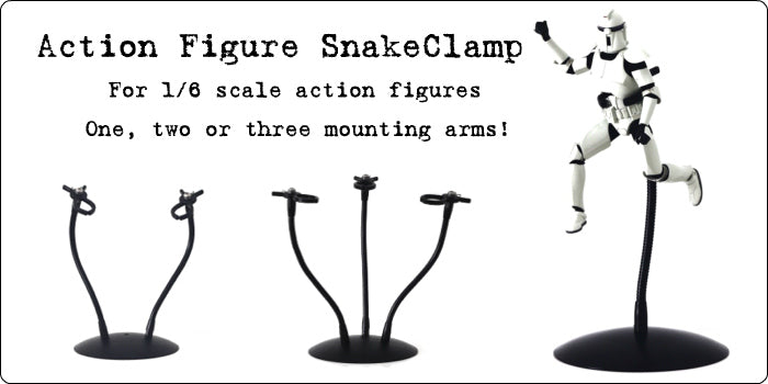 1/6 scale Action Figure SnakeClamp available with 1, 2 or 3 flexible gooseneck arms