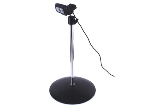 The Camera SnakeClamp is the ultimate webcam stand. Shown here is our Camera Ball Head paired with a 12″ rigid arm and round mounting base.