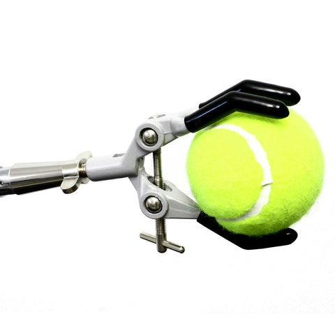 3 Finger Clamp V2 attached to flexible gooseneck arm holding tennis ball.  Clamp fingers open to 3-5/8""