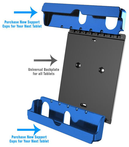 Universal backing plate can accommodate a wide range of tablets simply by changing the cup ends