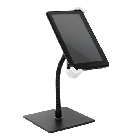 "SnakeClamp adjustable small tablet mount with 9"" black flexible gooseneck arm and square base"
