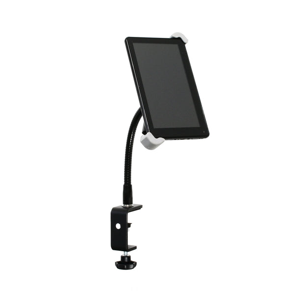 "SnakeClamp iPad Stand or Tablet Stand with Small Adjustable Mount, 9"" Black Flexible Gooseneck and Table Clamp shown with Android tablet"