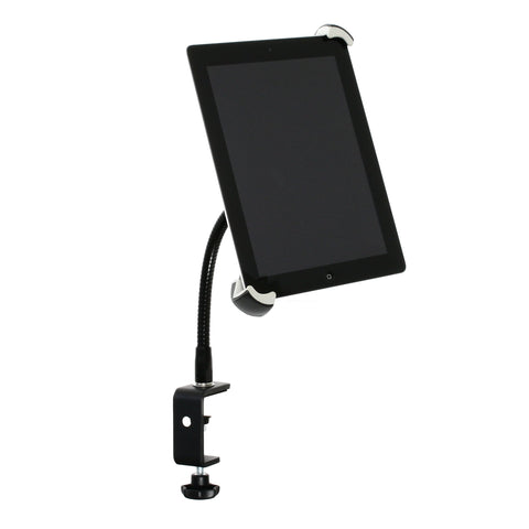 "SnakeClamp iPad Stand or Tablet Stand with Extra Large Adjustable Mount, 9"" Black Flexible Gooseneck and Table Clamp shown with iPad"