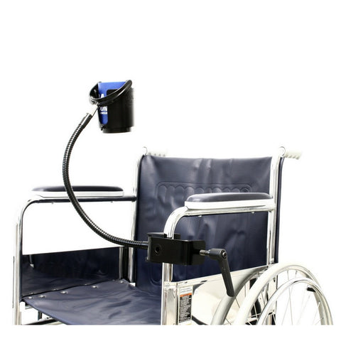 "SnakeClamp Cup and Drink Holder shown attached to wheelchair with 18"" Heavy-Duty flexible gooseneck in black and Megaclamp"