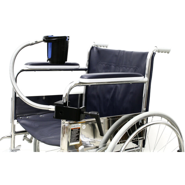 "SnakeClamp 18"" Super-Duty Flexible Arm Cup and Drink Holder with Megaclamp for Wheelchairs, Strollers, Hospital Beds"