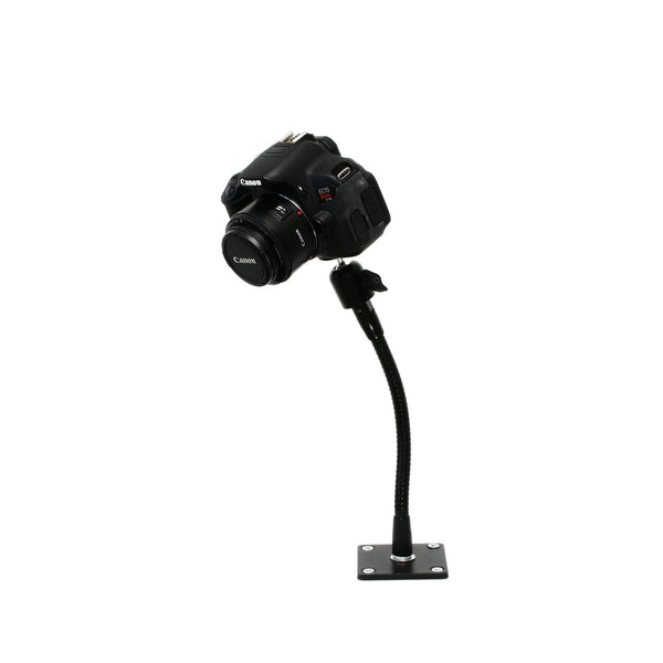 "SnakeClamp 9"" Black Flexible Arm Camera Stand with Plate Mount shown with DSLR"