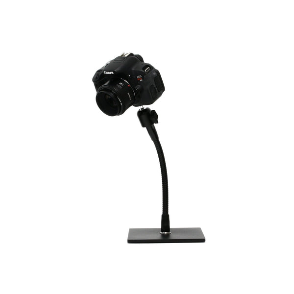 "SnakeClamp 9"" Black Flexible Arm Camera Stand with Square Base shown with DSLR camera"