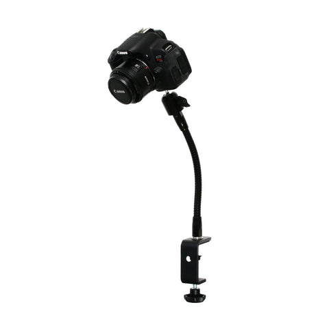 "SnakeClamp 9"" Black Flexible Arm Camera Stand with Table Clamp shown with DSLR camera"