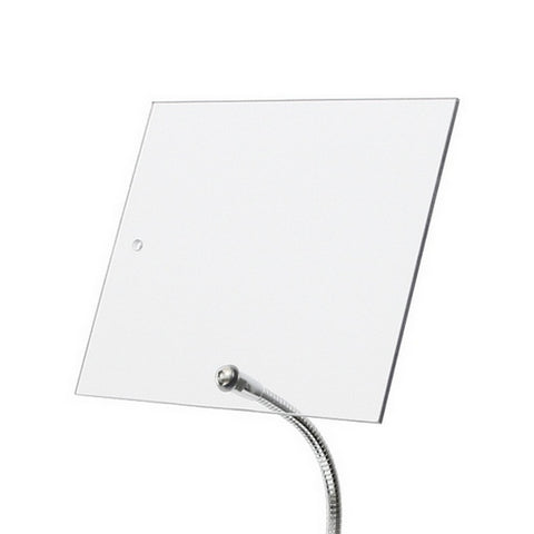 "Machine Guard Shield 10"" x 12"" shown attached perpendicular to flexible gooseneck arm"