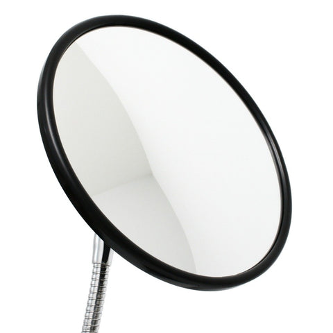 "8-1/2"" diameter convex mirror shown attached to SnakeClamp flexible gooseneck arm"