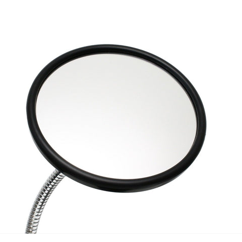 "6-1/2"" Round Mirror shown attached to flexible gooseneck arm"