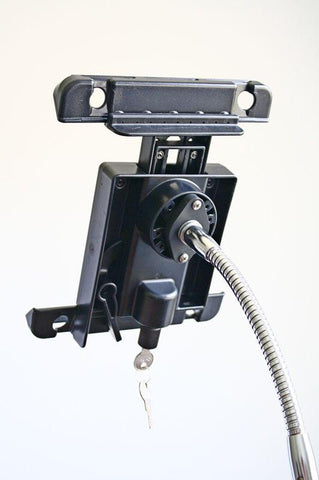Ram-Mount LOCKING Universal Backing Plate shown attached to flexible gooseneck arm
