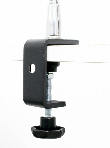 Table Clamp from SnakeClamp Products shown with flexible gooseneck arm attached to shelf
