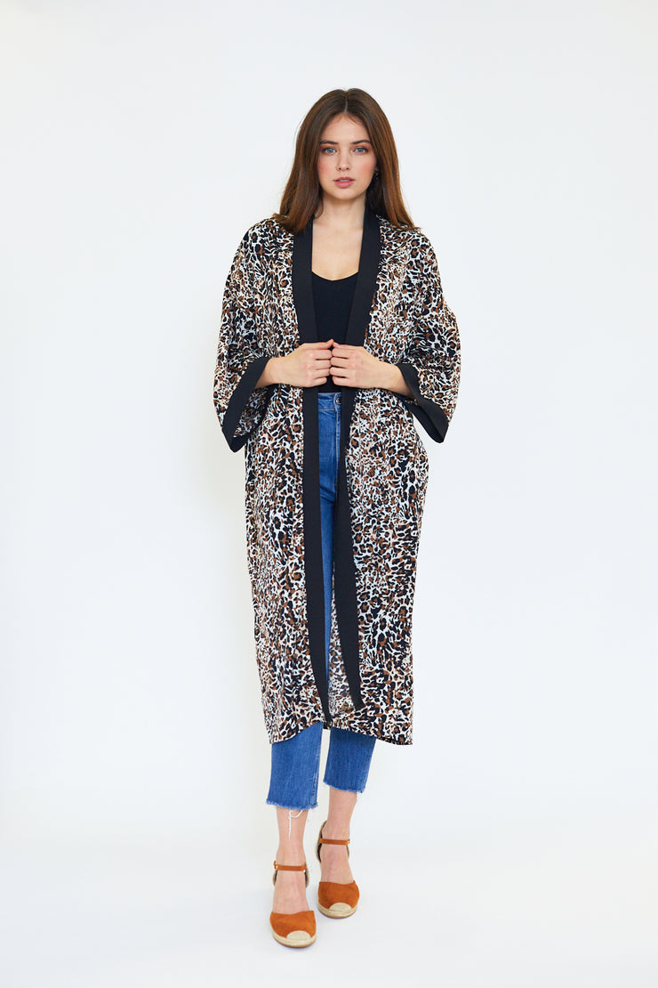 Small Spotted Neutral Animal Print Kimono