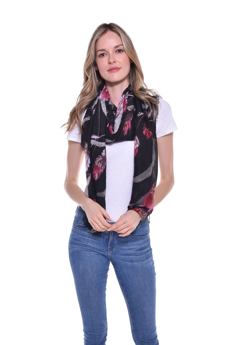 Black and Red Floral Print Scarf