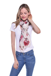 Cream and Red Floral Print Scarf