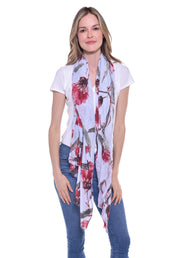 Light Blue and Red Floral Print Scarf