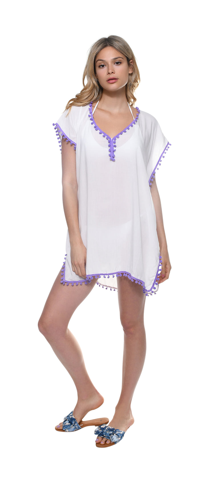 Purple Pom-Pom Beachwear Coverup