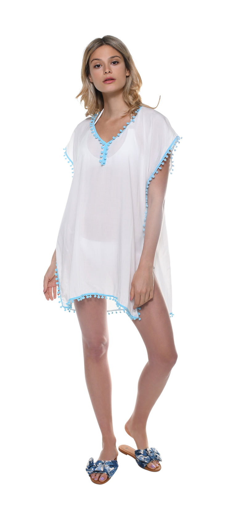 Blue Pom-Pom Beachwear Coverup