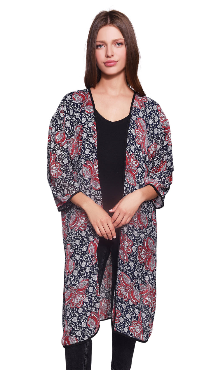 Black and Red Paisley Print Kimono