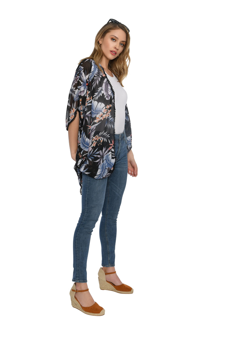 Black Short Tropical Print Kimono with Pom Pom Detail