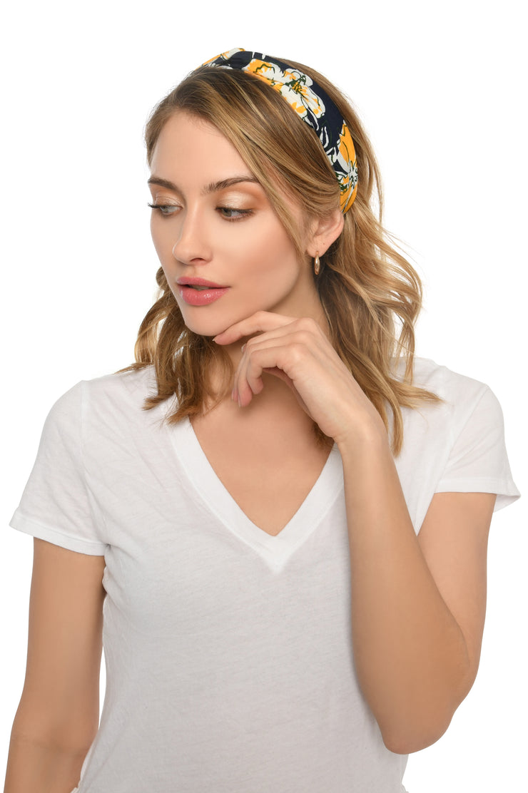 Navy and Yellow Tropical Print Headband